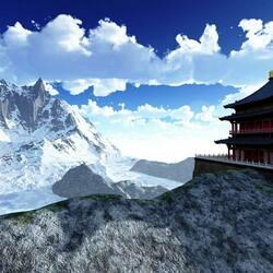 Пазл онлайн: Буддийский храм в Гималаях