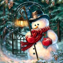 Пазл онлайн: Добрячок-снеговичок