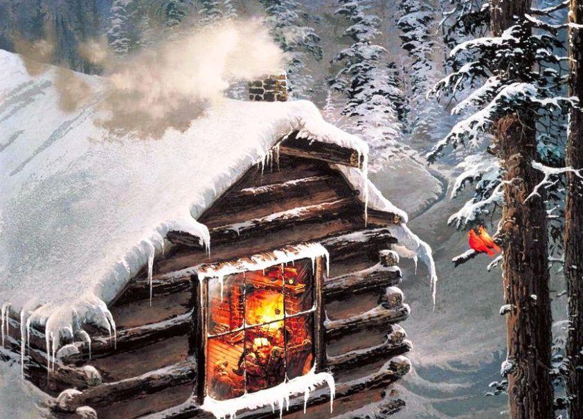 одинокая избушка в снегу анимация открытки как обычно