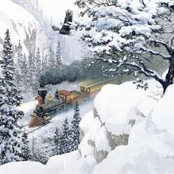 Пазл онлайн: Среди заснеженных гор