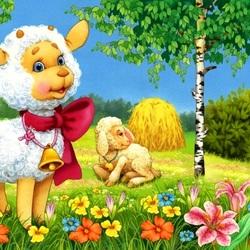 Пазл онлайн: Нарядная овечка