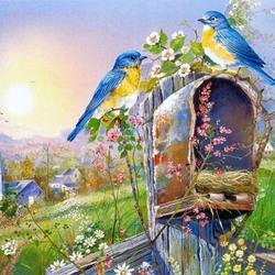 Пазл онлайн: Птицы и цветы