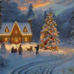 Пазл онлайн: Рождественский вечер