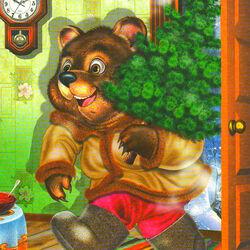 Пазл онлайн: Мишка с ёлочкой