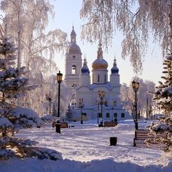 Пазл онлайн: Софийско-Успенский собор зимой
