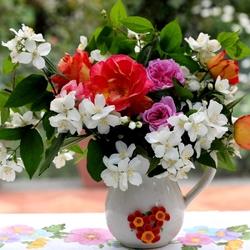 Пазл онлайн: Роза и жасмин