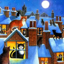 Пазл онлайн: Кошки на крышах