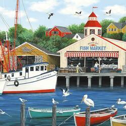 Пазл онлайн: Рыбный рынок