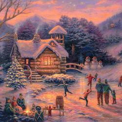 Пазл онлайн: Встречая Рождество