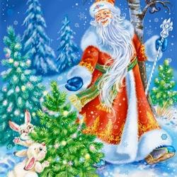 Пазл онлайн: Дед Мороз Красный нос