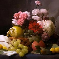 Пазл онлайн: Натюрморт с хризантемами и виноградом