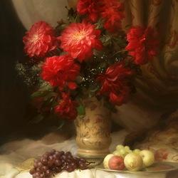 Пазл онлайн: Натюрморт с георгинами и виноградом