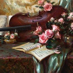 Пазл онлайн: Соната для скрипки и розы