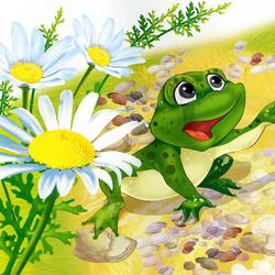 Пазл онлайн: Веселый лягушонок