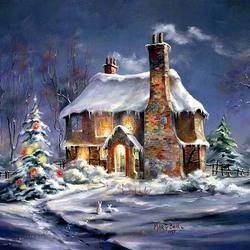 Пазл онлайн: Рождественский коттедж