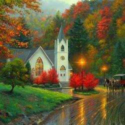 Пазл онлайн: Осенняя часовня
