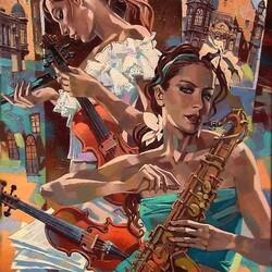 Пазл онлайн: Две скрипки и саксофон