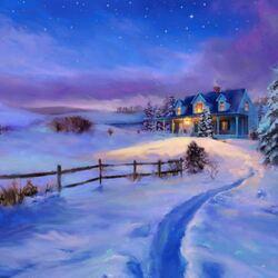 Пазл онлайн: Тихий зимний вечер