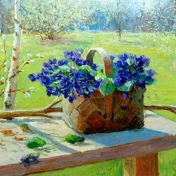 Пазл онлайн: Корзиночка с весенними цветами