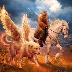 Пазл онлайн: Славянская мифология: Семаргл