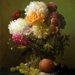 Пазл онлайн: Хризантемы и фрукты