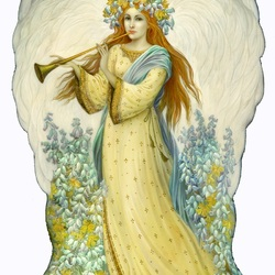 Пазл онлайн: Ангел с флейтой