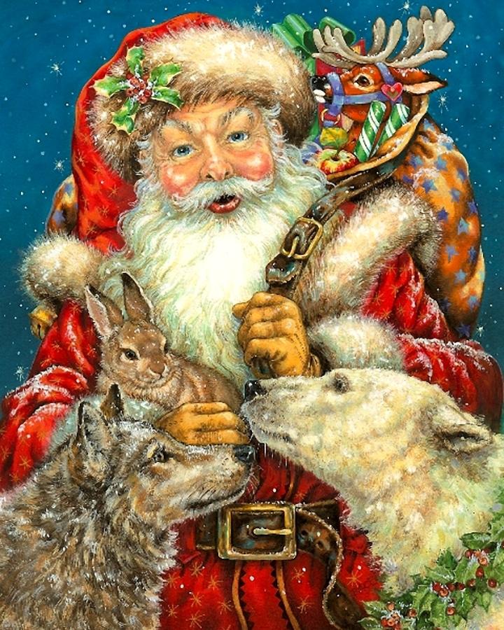 Новогодняя открытка дед мороз новогодние себе буйство