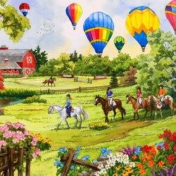 Пазл онлайн: Воздушные шары над лугом