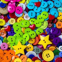 Пазл онлайн: Разноцветные пуговицы