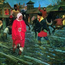 Пазл онлайн: Московская улица XVII века в праздничный день