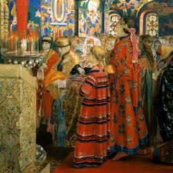 Пазл онлайн: Русские женщины XVII столетия в церкви