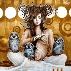 Пазл онлайн: Девушка с совами