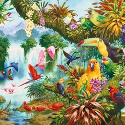 Пазл онлайн: Экзотические птицы