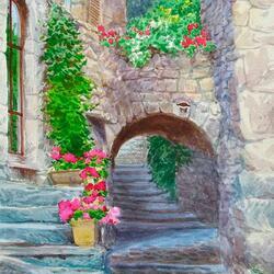 Пазл онлайн: Эз. Цветущий дворик