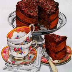 Пазл онлайн: Шоколадный торт