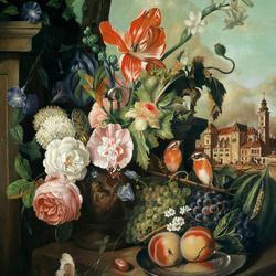 Пазл онлайн: Букет с тюльпаном