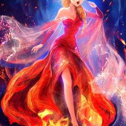 Пазл онлайн: Огненная Эльза