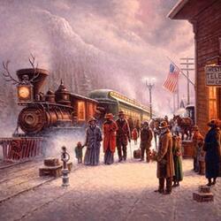 Пазл онлайн: Прибытие поезда