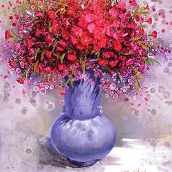 Пазл онлайн: Гвоздики в синей вазе