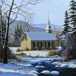 Пазл онлайн: Церковь в снегу