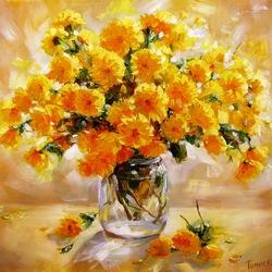 Пазл онлайн: Желтые хризантемы