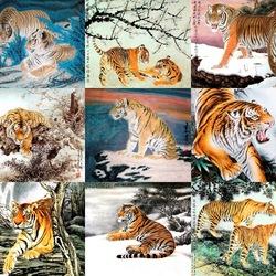 Пазл онлайн: Тигры в китайской живописи