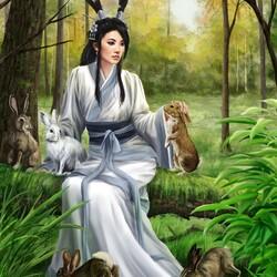 Пазл онлайн: Девушка и кролики