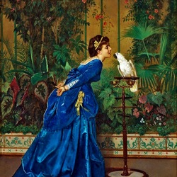 Пазл онлайн: Девушка и попугай