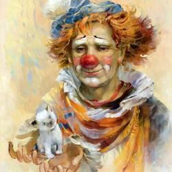 Пазл онлайн: Рыжий клоун