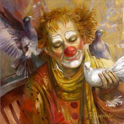 Пазл онлайн: Рыжий клоун и голуби